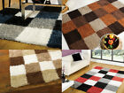 MODERN SOFT WARMING CHECKED SQUARE SHAGGY RUG -OTHER COLOURS & SIZES AVAILABLE-