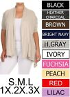 Rayon Stretchy Shirred Sleeves Open Plus Cardigan Sizes S M L 1X 2X 3X