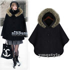 New Women Dolman Batwing Thicken Button Casual Fur Hooded Coat Poncho Cloak Cape