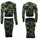 NEW WOMENS CAMOUFLAGE KNITTED JUMPER CROP TOP PENCIL SKIRT LADIES DRESS