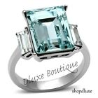 Women's Radiant Cut Aquamarine AAA CZ Stainless Steel Engagement Ring Size 5-10