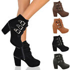 LADIES WOMENS MID HIGH BLOCK HEEL PLATFORM BIKER CHELSEA BUCKLE ANKLE BOOTS SIZE