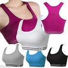 SPORTS BRA CROP YOGA STRETCH RACER BACK TOP-REMOVABLE PADS-TOP QUALITY