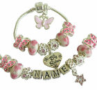 GIRLS/CHILDRENS ANY NAME PINK & SILVER CHARM BRACELET/NECKLACE SET GIFT BOXED