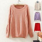 Korean Fashion Womens Long Sleeve Stripe Cable knit Jumper Pullover Sweater Tops