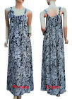 Summer Beach Maxi Dress Kaftan Black White Paisley Print Cotton Size 8 10 Long