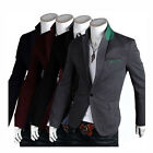 New Stylish Mens Long Sleeve Casual Slim fit One Button Suit Blazer Coat Jacket