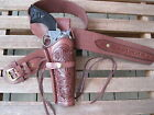 """Gun Belt Combo - 8"""" to 10"""" Tooled Holster - Brown - Leather - Specify Size"""