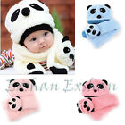 Baby Toddler Kid Girl Boy Panda Headshape Winter Warm Hat Cap Beanie Scarf Gift