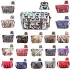 Ladies Butterfly Owl Polka Dot Oilcloth Satchel Cross Body Bag And Coin Purse