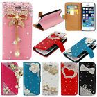 Pretty For iPhone 5G 5S Stand Flip Leather Wallet Purse Bling Hard Case Cover