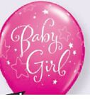 "Qualatex 11""  Pink Baby Girl Stars Latex Helium Quality Balloons assorted qty"