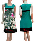 70s Vintage Cocktail Party Day Shift Dress Green Black Water Lily Print SZ 10-18