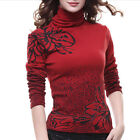 Winter New Thick Tops Women's Turtle Neck Long Sleeve Floral Casual Slim Blouse