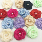 100/20pcs Satin ribbon bows flower with pearl wedding DIY appliques Upick A006