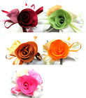 "(4pcs) Satin Ribbon Rose 4"" - Silk/Fabric Flower Heads - Bridal Wedding Applique"