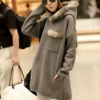 New Thicken Pullover Coat Women Girls Long Sleeve Fur Pocket Hoodie Long Sweater