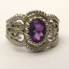 Handmade Sterling Silver Filigree Crown Amethyst Ring 8x6mm .75ct NC Sizing