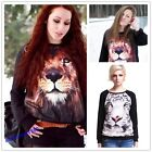 Women's 3D Lion Tiger Print Long Sleeve Black Jumper Pullover Sweatshirt Tops NE