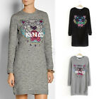 New Womens European Fashion Crewneck Tiger Long Sleeve Dress Coat B3655MS