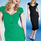 Womens Vintage Short Sleeve Bodycon Cocktail Party Pencil Clubwear Wrap Dress