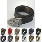 Military Army Skull Mens Stainless Steel Buckle Webbing Waist Canvas Thick Belt