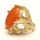 J and S Handmade 14k Cocktail Gold Oval Carnelian Claw Ring 18x13mm 12+ct
