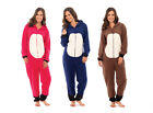Ladies Onesie Animal Hooded Pyjamas Womens All In One Navy Pink Brown Size 10-18