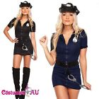 Ladies Black Police Costume Cop Officer Uniform Party Fancy Dress Blue Outfits