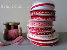 Festive Christmas Ribbon Collection-Grosgrains in Red & White - Ten Designs