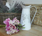 SHABBY VINTAGE JUG, WHITE METAL DISTRESSED PITCHER, WITH OR WITHOUT FLOWERS