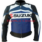 Men Mens SUZUKI GSX Blue REAL Leather Motorcycle Motorbike Biker Racing Jacket