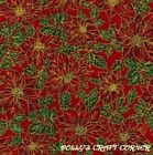 Christmas Pointsettia Fabric F/Q,metre or sample Quilting, bunting 100% cotton