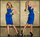 GORGEOUS ELEGANT BLUE SHORT SLEEVE PEPLUM DRESS SIZE M/10