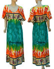 Summer Beach Bali Dress Green Orange Yellow Print Kimono Sleeve Size 10 12 14 16