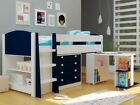 Boys Navy Blue And White Midsleeper Bed With Storage & Desk - New Mid Sleeper
