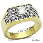 2.80 CT ROUND CUT AAA CZ 14K GOLD PLATED STAINLESS STEEL RING MEN'S SIZE 8-13