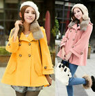 Women Warm Trendy Cute Faux Fur Collar Double Breasted Wool Blends Coat 3 Size