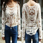 Women Semi Sexy Sheer Long Sleeves Embroidery Floral Lace Crochet Top Blouse J