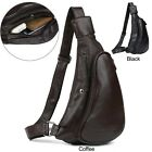Men Real Leather Shoulder Sling Bag Sports Pouch Chest Pack Cross Body Backpack