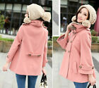 Hot!Latest Women's Warm Faux Fur Collar Double Breasted Wool Blends Coat XS S M
