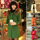 Womens Fur Decoration Warm Thick Women Single Breasted Wool Blends Coat 4 Colors