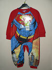 SUPERMAN BOYS FLEECE   ALL IN ONE PYJAMAS SLEEPSUIT ONESIE AGE UP TO 2 3 4 5
