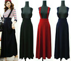 Fashion Womens Ladies Fall Winter Long Maxi Suspender Skirt Dress 3 Colors