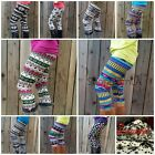 Nordic Aztec Multi High Waist Soft Leggings LIGHT FLEECE Knit Tights Pants HOT