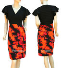 Pleated Cocktail Evening Pencil Dress Black Orange w Sleeves Size 8 10 12 14 16