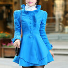 Women New Slim Button Down Lace Trim Collar Dress Princess Blue Coat Size M