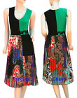 Pleated Summer Tunic Dress w Colour Block Paisley Print Green Black SZ 12 14 16
