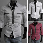 Stylish Mens Designer Dress Shirts Casual Basic Tops Patched Pop 3 Colors+4 Size