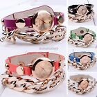 Fashion plating gold Women multicolor leather acrylic chain punk style Watch New